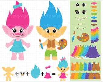 Vector Clipart - Make a Troll /  Troll making kit, troll hair, rainbow hair, cute troll, monsters, trolls, movie clip art