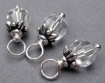 Swarovski Birthstone Charms, 6mm Clear Swarovski Crystal Beads,  Wire Wrapped Bead Dangles, Stitch Markers, Wine Glass Charms
