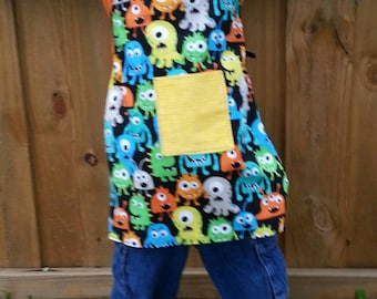Reversible Child's Apron Cute Monsters on Black