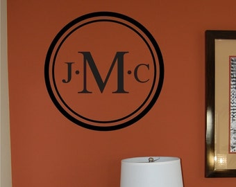 Vinyl Wall Decal - Circle Monogram  with Initials