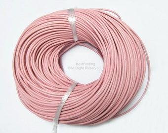 3mm Round leather cord Smooth Pink genuine leather cording - 5meters