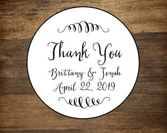 Wedding thank you labels, personalized stickers, envelope seals, set of 20, Matte white, Kraft brown or Chalkboard Black, thank you stickers