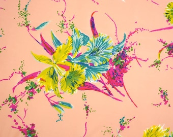 Vintage 80's Floral Fabric - Tropical Print - Polyester Jersey - 1 Piece - Sewing Project - Medium Weight - Flowy Fabric - Apparel