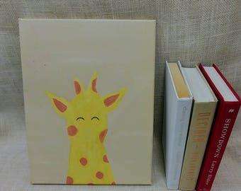 Tall giraffe Baby Kids Room Canvas Original Acrylic Painting 11×14