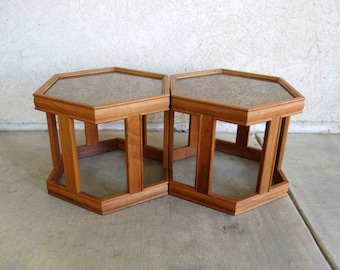 Vintage Mid Century Pair of Occasional Tables by John Keal for Brown Saltman. Circa 1960's.