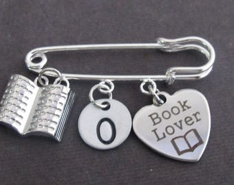 Personalized Book Lover Kilt Pin,Book Lover Jewelry,Gifts for Readers,Librarians Gifts,Book Charm Safety pin,Party Favors,Free Shipping USA