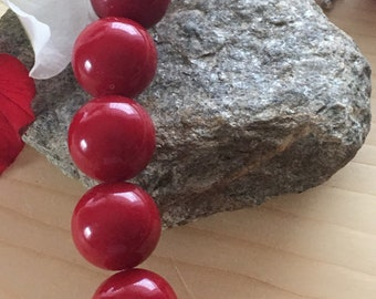 Vintage necklace, red necklace,