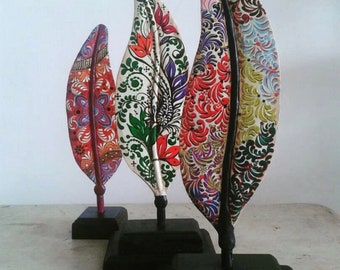 Handmade, hand painted, hand carved wood feather art from Venezuela choose your custom colors!