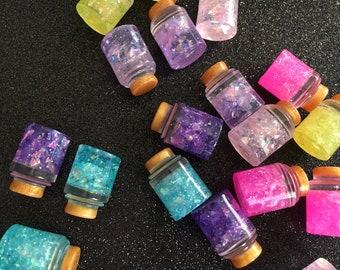 10pc. Glitter Wish Bottles, resin Cabochon
