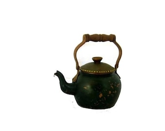 Copper kettle wood handle vintage. Painted green with gold dots.
