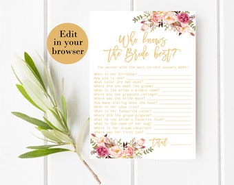 Who Knows the Bride Best, Editable Bridal Shower Game, Pink Bridal Shower Printables Gold Bridal Shower Know The Bride Quiz Know the bride