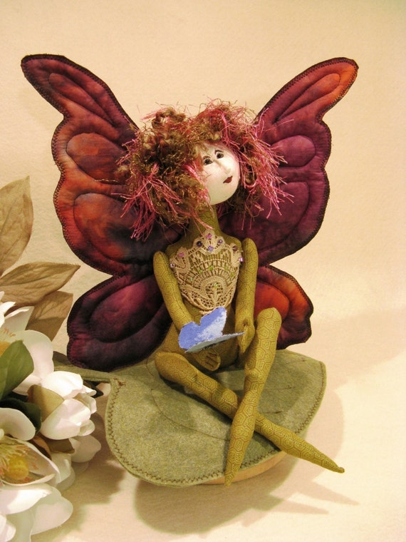 Amour Papillon - Mailed Cloth Doll Pattern 11 inch Fairy Butterfly Doll