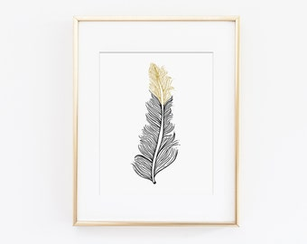 Feather Print, Feather Art Print, Feather Wall Art, Gold Feather - Black Feather Artwork, Tribal Art Print - Printable Art, Instant Download