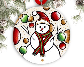 Snowman Ornament, Handmade Christmas Ornament, Hand Painted Ornament, Christmas Tree Ornament, Christmas Gift with Gift Box