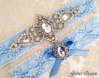 Blue Lace Garter Set, Wedding Garter, Bridal Garter set, Rhinestone Garter, Blue Garter, Crystal Garter