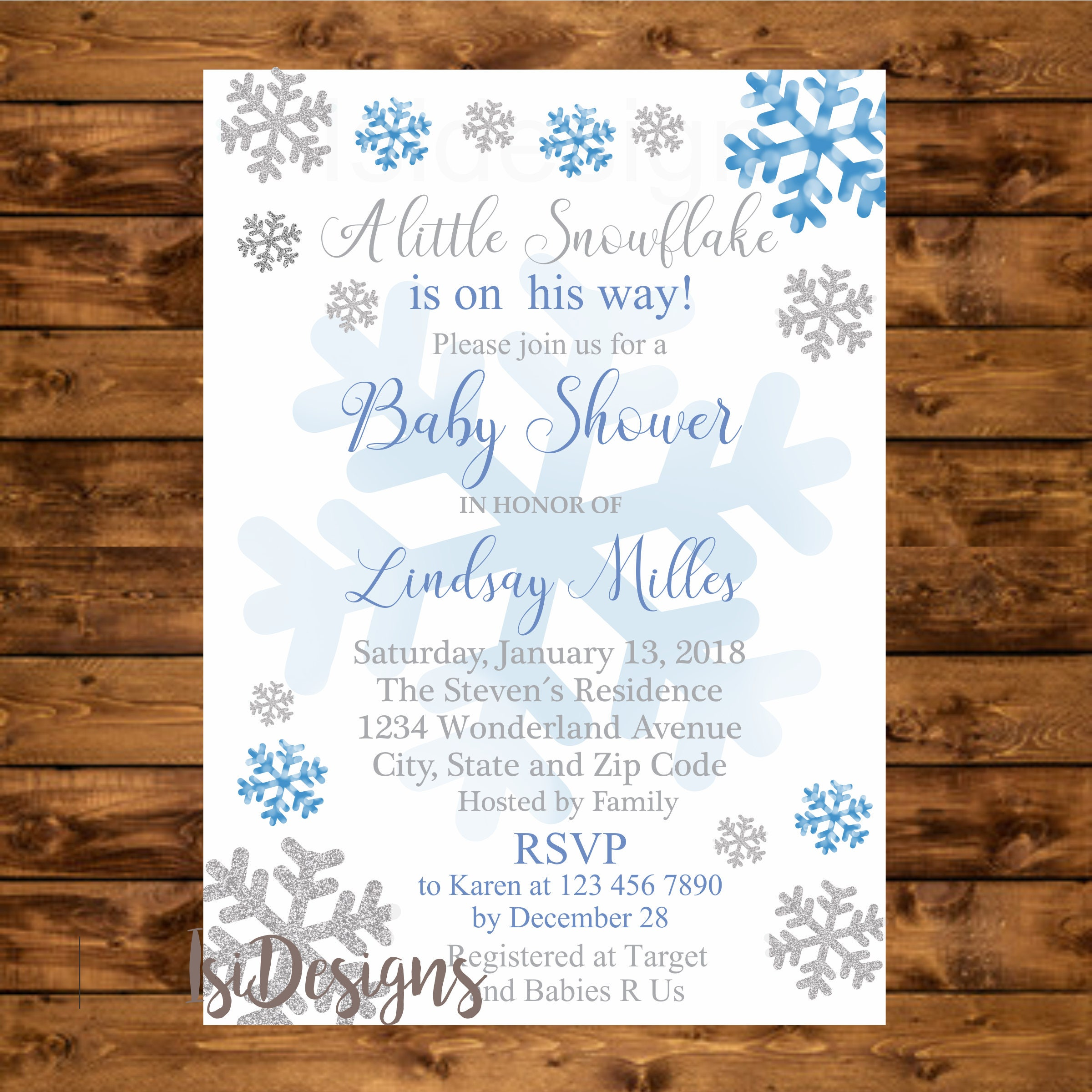 Winter baby shower invitation printable blue and silver
