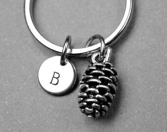 Pine cone keychain, pine cone charm, pinecone, nature personalized keychain, initial keychain, initial charm, customized keychain, monogram