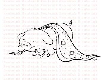 Piggie Dreams Digital Stamp for Card Making