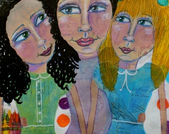 Mother and Daughters, three girls, mixed media,