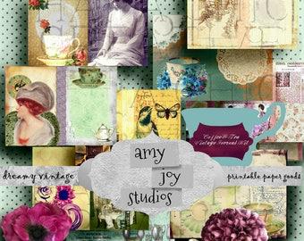 COFFEE & TEA  Digital Journal Kits   Art Journal  Collage  Backgrounds  Scrapbook  Ephemera  Junk Journal  Vintage Theme  Alice Party