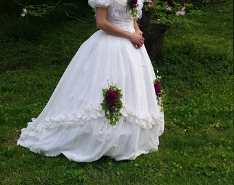 Sheer White and Ivory Civil War Victorian Ball Evening Gown
