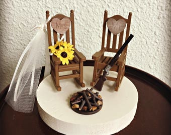 Rustic Smore Wedding Cake Toppers / Wedding Cake Topper Cabin