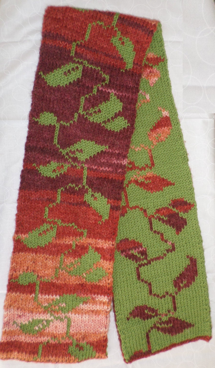 Falling Leaves Double Knit Scarf Pattern from knitsbycindy on Etsy ...