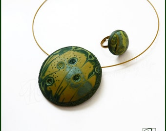 Green Pendant Necklace and Ring  Jewelry Polymer Clay , Modern Art Summer, Dark Green Forest,Statement Jewelry. Ready to ship.