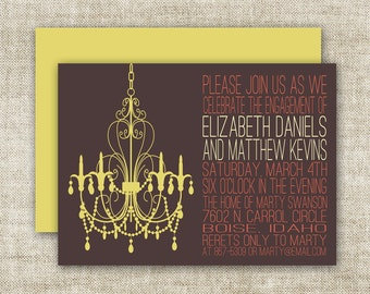 Chandelier BRIDAL SHOWER INVITATIONS In Dark Plum and Olive Custom Digital Printable Cards - 90575158