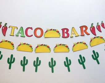 Taco banner, taco bar, tacos, taco party, cactus banner, taco decoration, cactus decoration, cinco de mayo, taco about a party, taco Tuesday
