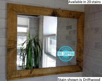 FREE SHIPPING - Shiplap Reclaimed Wood Mirror by Lane of Lenore in 20 stains - Rustic Mirror - Mirror - Bathroom Mirror – Vanity Mirror