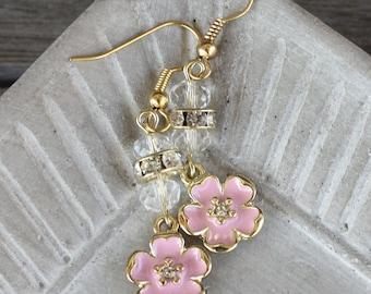 Pink Enameled Flower Earrings, Pink Earrings, floral earrings, pink flower earrings, feminine earrings, pink jewelry, floral jewelry