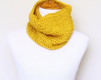 Crochet cowl, infinity scarf, knit cowl, crochet neckwarmer, loop scarf, infinity loop, crochet scarf, mustard cowl