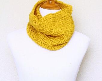 Crochet cowl, infinity scarf, knit cowl, crochet neckwarmer, marigold loop scarf, infinity loop, crochet scarf, mustard cowl