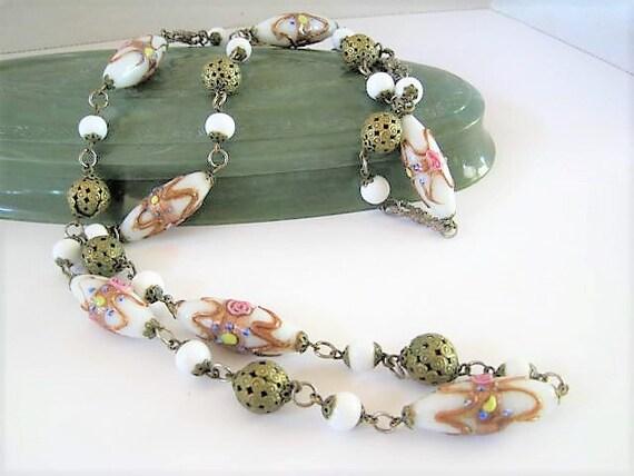 Venetian Glass Bead Necklace, Elongated Feather Design, 34 Inches,  White Art Glass, Aventurine GoldStone Wrap, Italian Beads