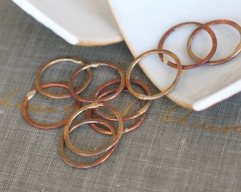 small firescale circles- handmade hoop links, hammered links, copper circle links, rustic hoops, forged hoops, copper rings, copper findings