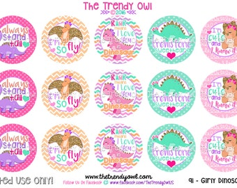 "Girly Dinosaur Bottle Cap Images - ""Rawr Means I Love You In Dinosaur"" - INSTANT DOWNLOAD - 1"" Bottle Cap Images 4x6 - 91"
