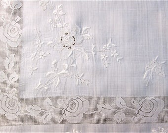 Vintage Tablecloth Whitework Tea Cloth Hand Embroidered Antique White Work Bridge Cloth Rice Linen and Drawnwork Vintage Linens
