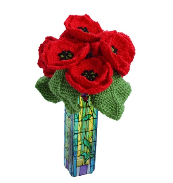 Knitted poppies, knitting pattern for poppies, knitted flowers ...