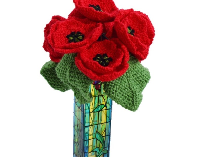 Knitted poppies,  knitting pattern for poppies, knitted flowers,  floral display, knitted pansy, flower gift, knitted leaves