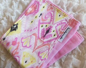 Baby Burp cloth - pink ikat hand dyed burp cloth