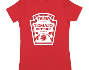 Ketchup Costume Funny Halloween Humor Set Women's Jr Fit T-Shirt DT1936