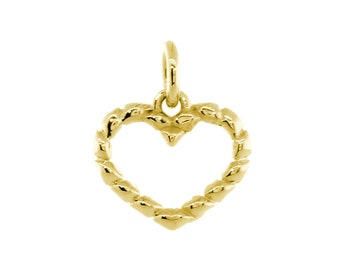 Small Open Heart Rope Charm in 14K Yellow Gold