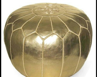 Gold Authentic Moroccan Faux Leather Pouf Handcrafted Leather Pouffe