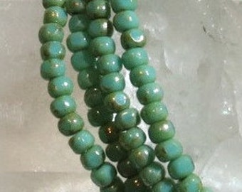 Czech Glass - Trica Beads - 4mm x 3mm  - Opaque Turquoise - Strand  of 50 Beads