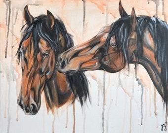 Horse Friends - Original equine art by Kasia Bukowska