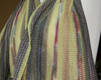 """Vintage Scarf Rayon Knit Stripes """"Judy's California"""" Boho Accessories 1970s"""