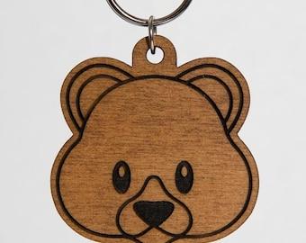 Teddy Bear Emoji Keychain - Bear Face Emoji Carved Wood Key Ring - Cute Bear Emoji Wooden Engraved Charm