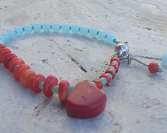 Genuine Red Coral and Aquamarine Beaded Bracelet