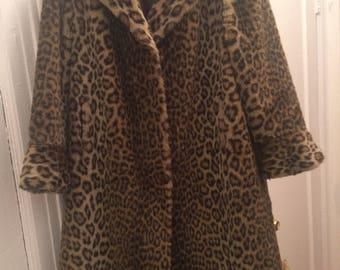 Faux Fur Leopard Print Coat (calf-length)